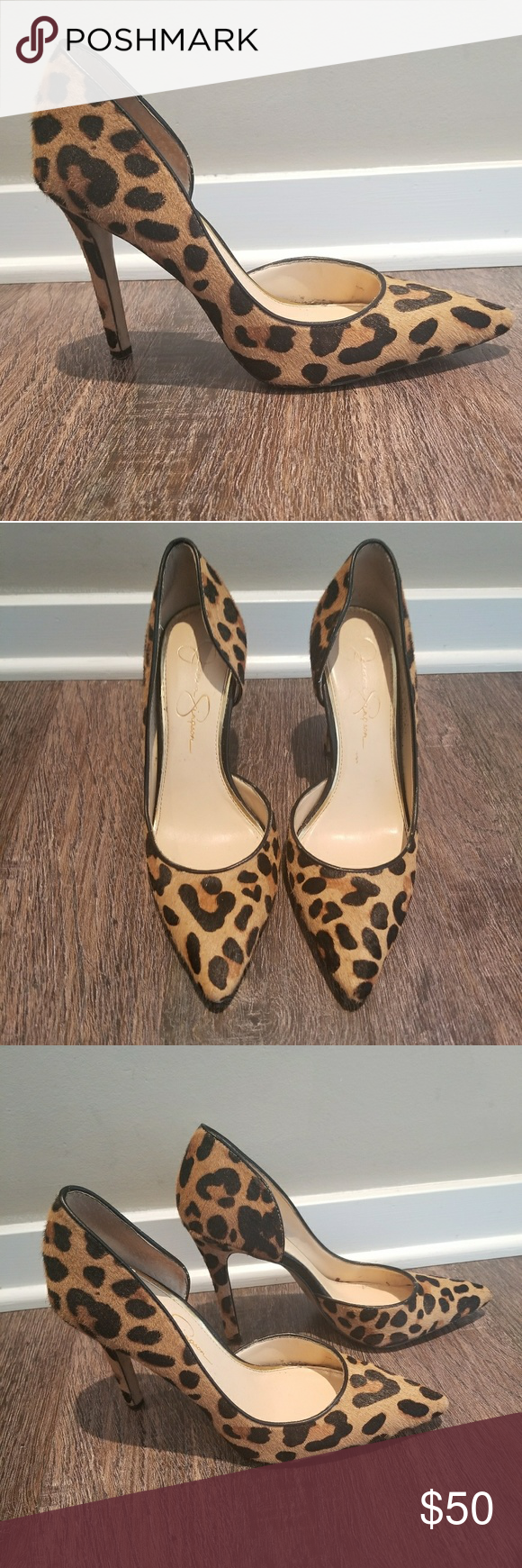 a526d119667 Jessica Simpson Leopard Pump Heels Claudette 🐆 Jessica Simpson O Orsay Claudette  Pump. Worn handful of times. Some wear and tear