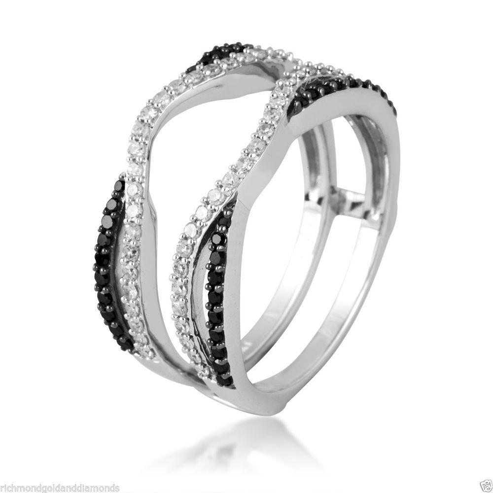 14k black and white gold split shank solitaire enhancer diamonds