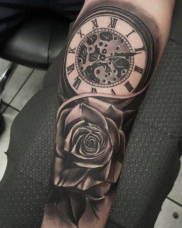 Diseños Originales De Tatuajes De Rosas Y Reloj Tatoo Tatuajes