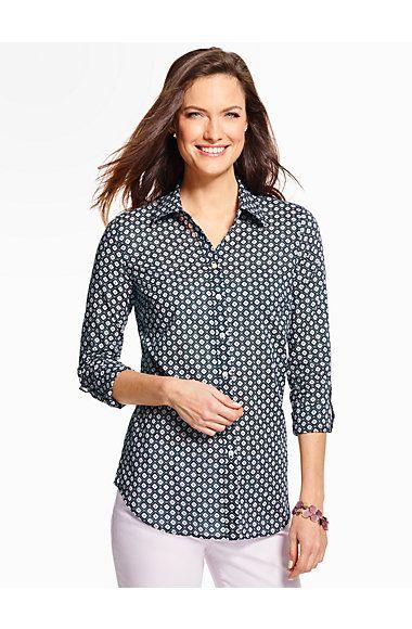 Summer-Light Cotton Shirt - Diamond Foulard - Talbots   Clothes ...