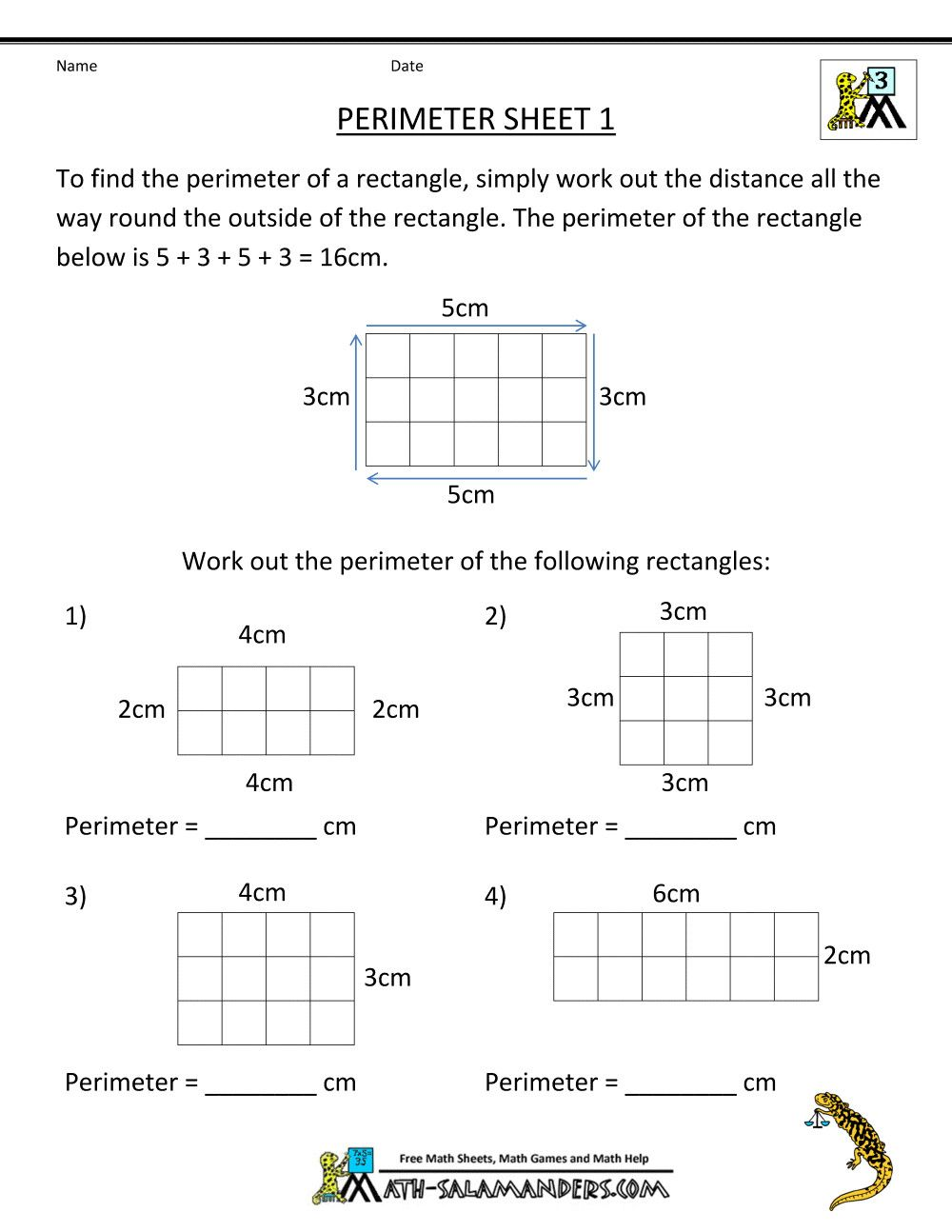 2 5th Grade Math Practice Test Printable free 3rd grade math worksheets perimeter 1