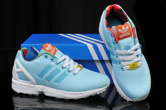 9057dd5bcdf4 adidas ZX Flux Womens Weave Light Aqua Floral