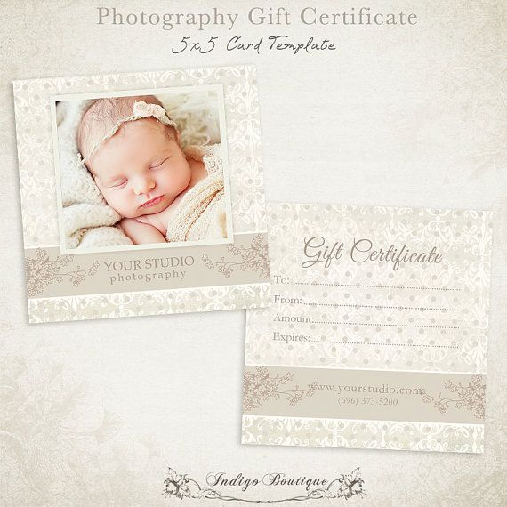 Photography Gift Certificate Photoshop Template 007 Id0105 Instant