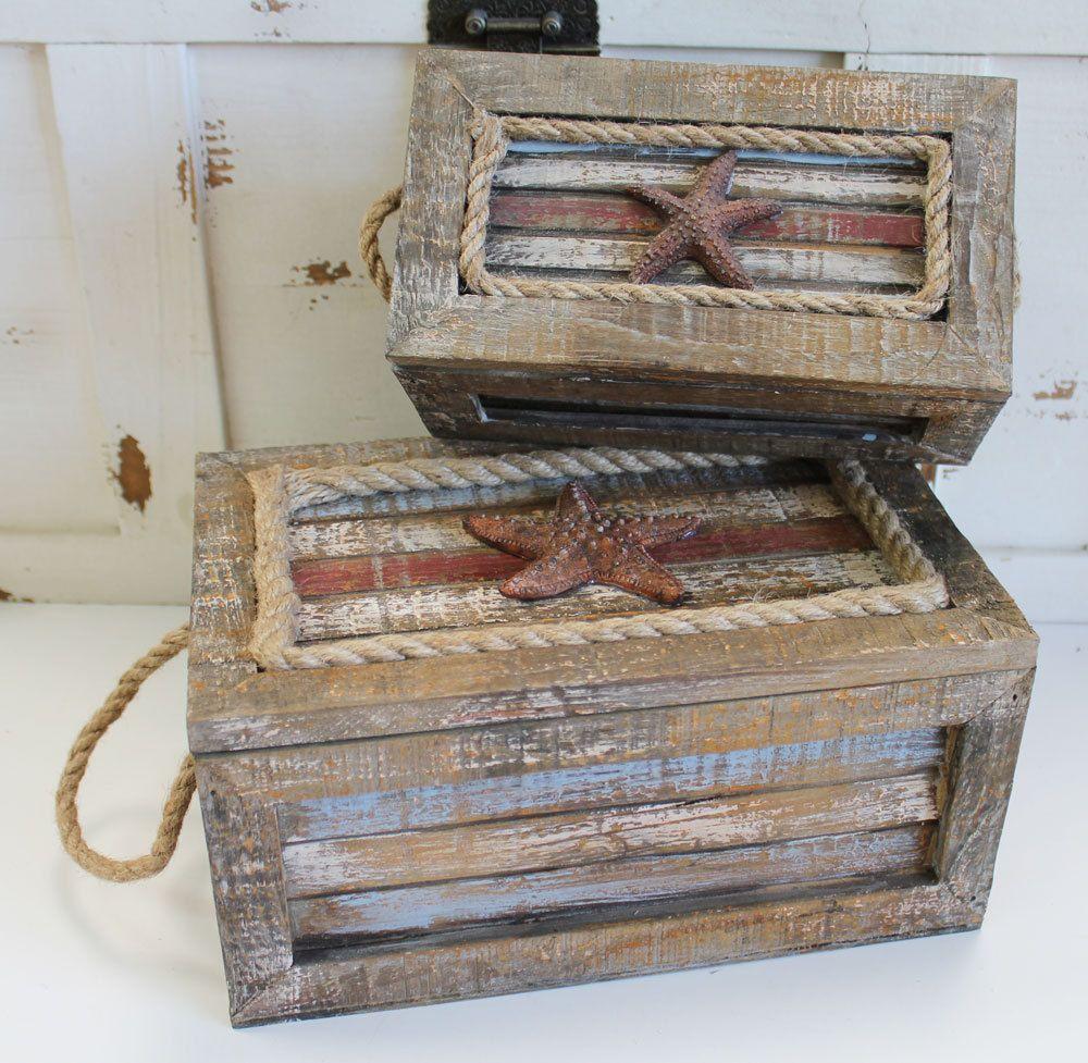 Nautical Wood Amp Rope Nesting Boxes Nautical Themed Decor