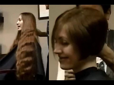 Long to short haircut makeovers - Very long hair to short bob cut ...
