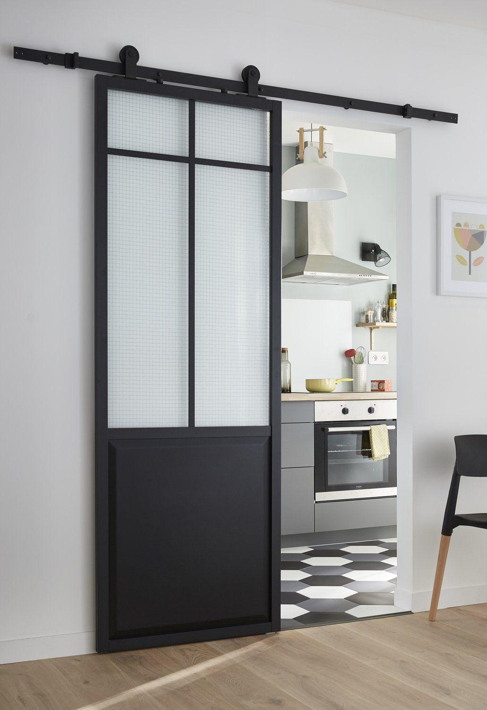 Porte Atelier Coulissante Avec Verre Arme Leroy Merlin Portes Coulissantes Modernes Cuisine Couloir Decoration Maison