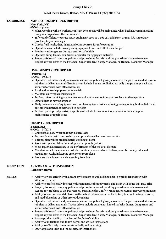 Truck Dispatcher Job Description Resume Best Of Truck Driver Resume Driver Job Truck Driver Jobs Job Description Template