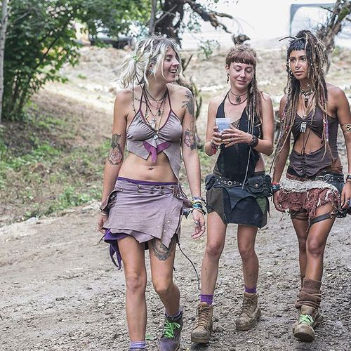 Three muddy pixies emerging from the woods in Croa