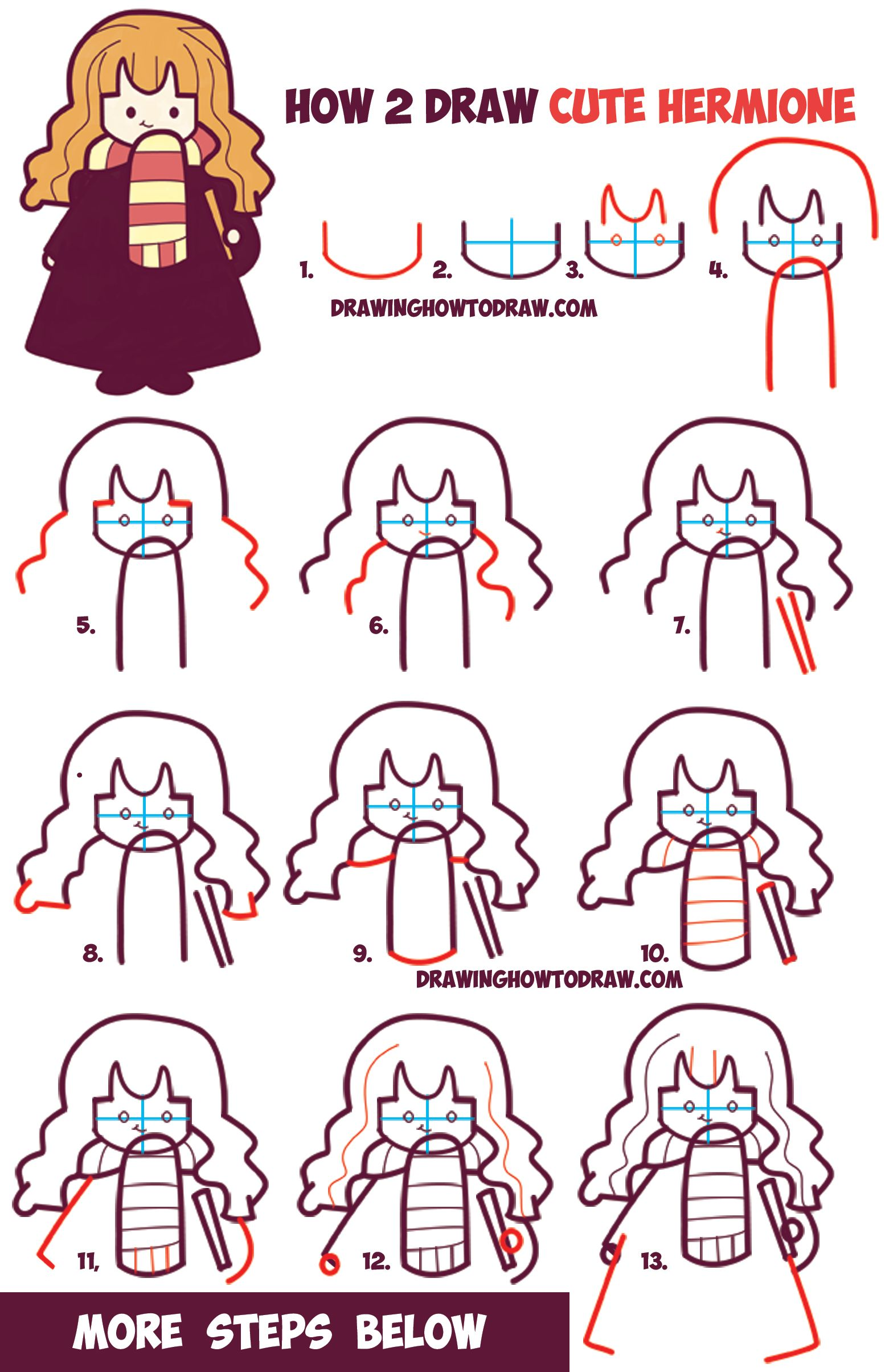 How To Draw Cute Hermione From Harry Potter Chibi