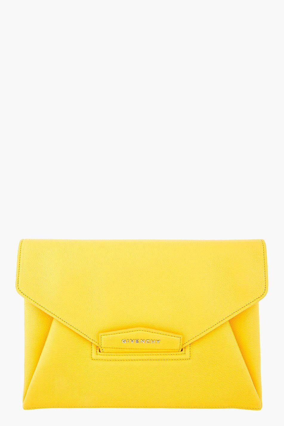 678d5fcacf Yellow Leather Medium Antigona Envelope Clutch from Givenchy ...