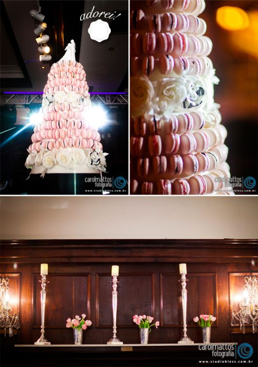 macaron wedding cake - pink wedding decor -   brazilian blog with inspiration for weddings and special events - www.lapapeteriediva.com.br