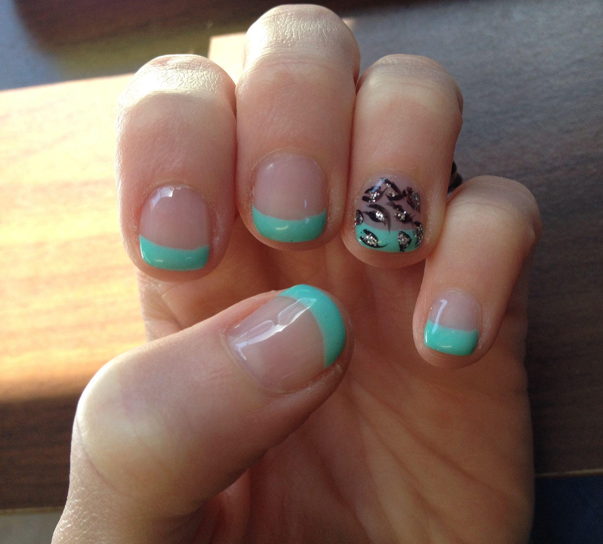 Gel Nails Design Exoticnails Teal Tips With Leopard Print Design On