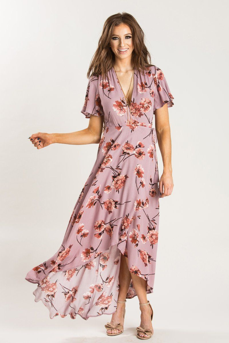 8600e7aead Katherine Mauve Floral Wrap Dress - Morning Lavender | Date Night in ...