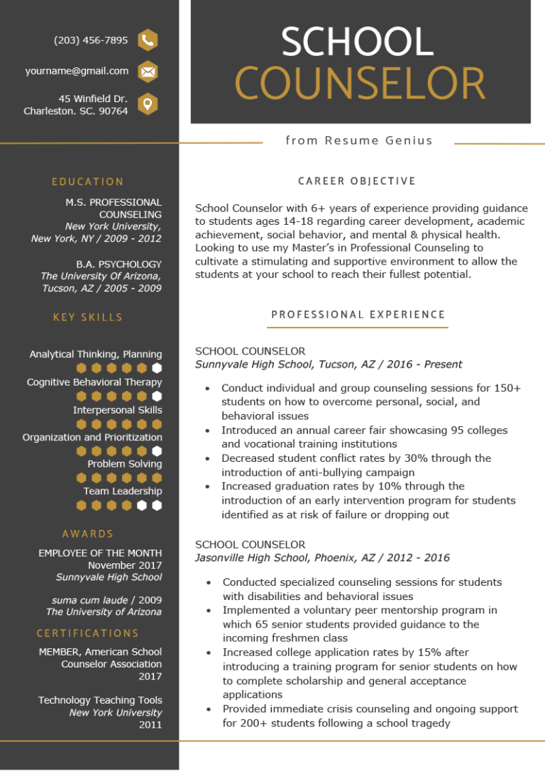 School Counselor Resume Sample & Tips (With images
