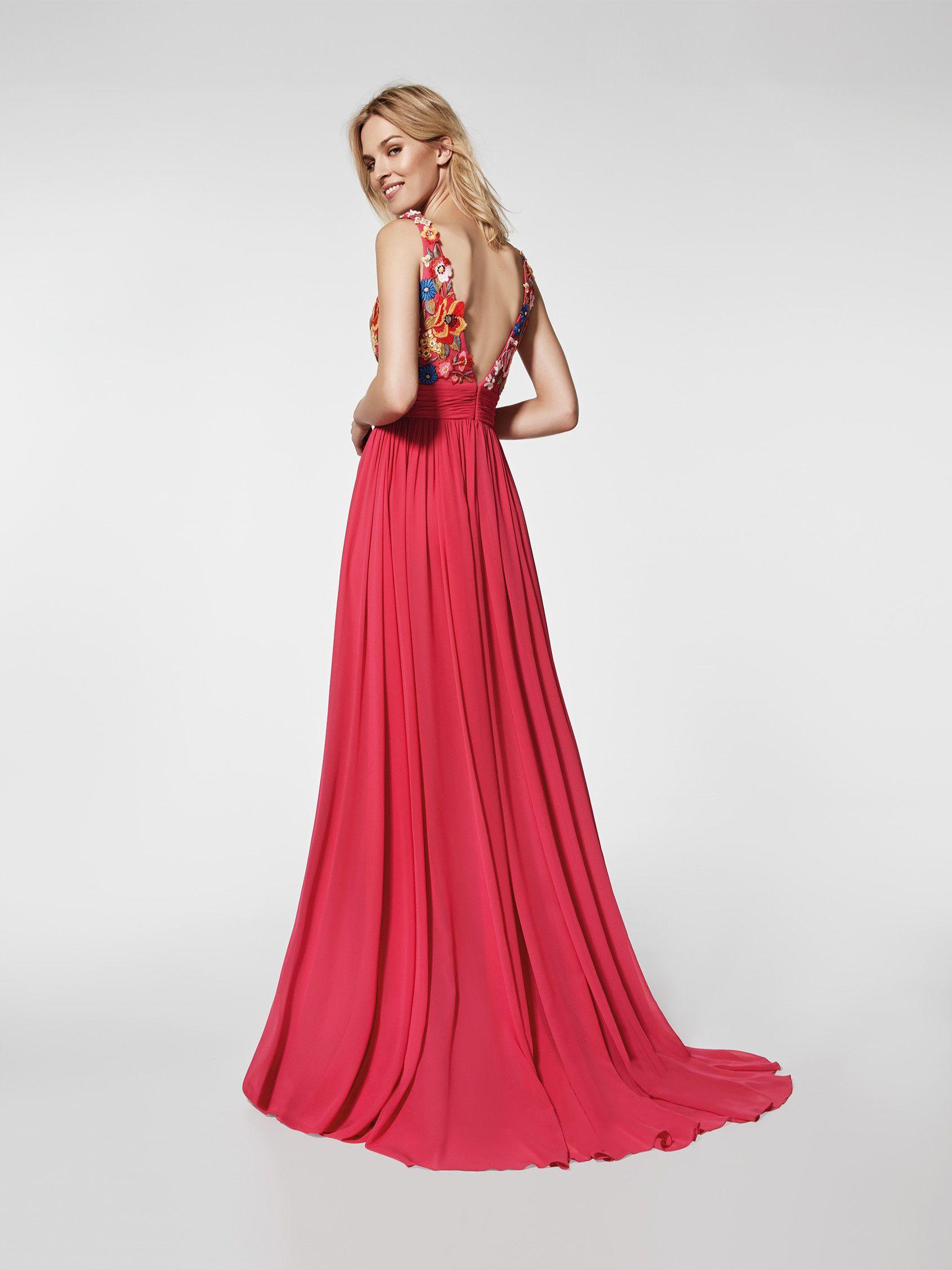 5ede37b8477b Vestido de fiesta rojo - Vestido largo GRETEL - con tirantes ...