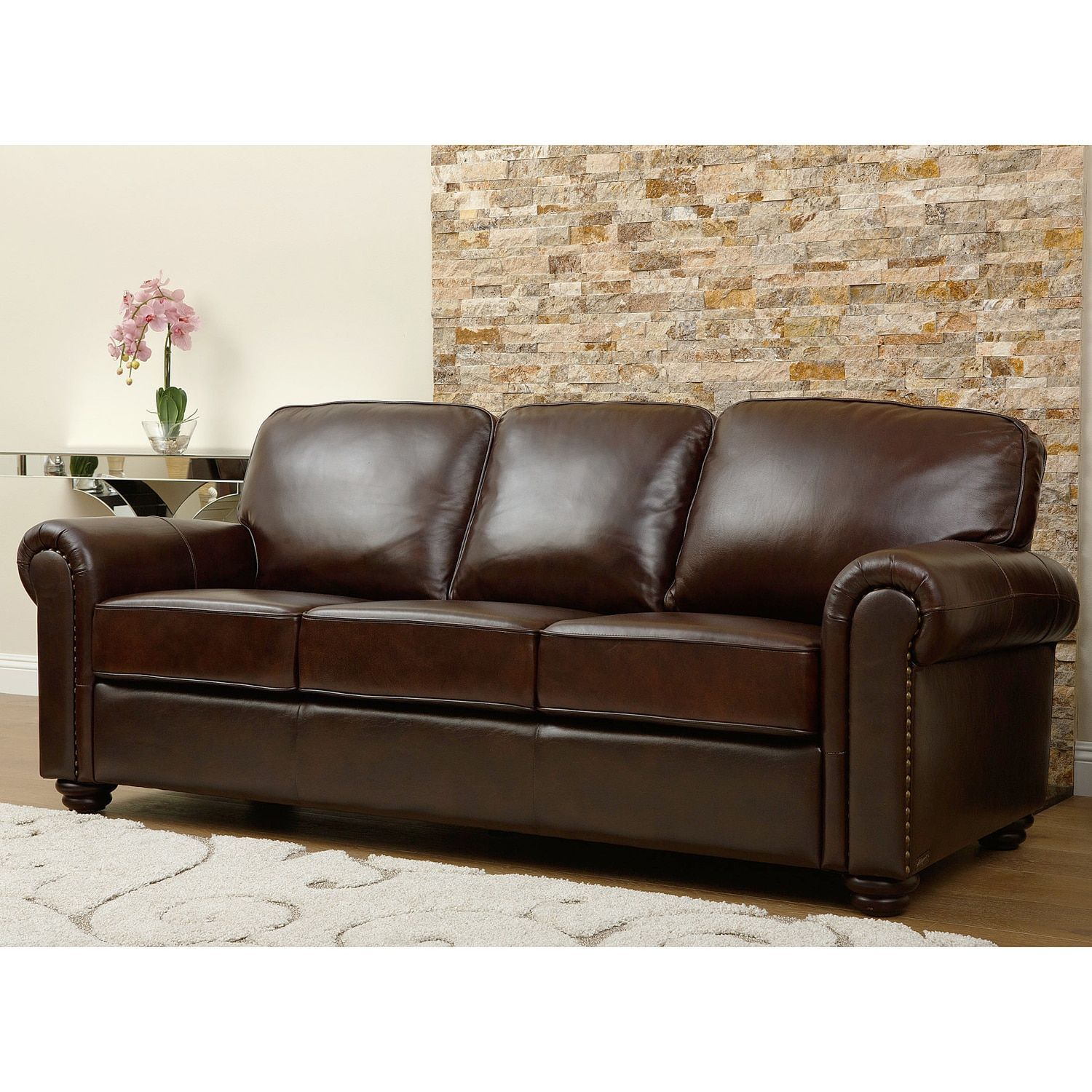 Abbyson Novara Leather Sofa Two Tone Brown Foam Products