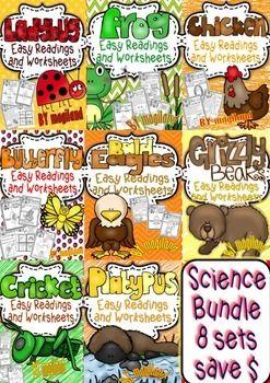 SCIENCE EASY READINGS AND PRINTABLES SAVE BUNDLE OF 8 SETS - TeachersPayTeachers.com