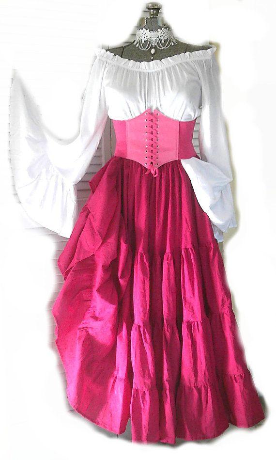 083a5f4c13b Renaissance Dress Pirate Gypsy Chemise Corset Outfit Waist Cincher 4 ...