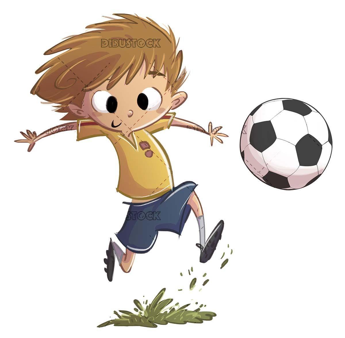 Boy With Soccer Kit Playing With Ball En 2020 Con Imagenes Ilustraciones Ninos Jugando Ninos