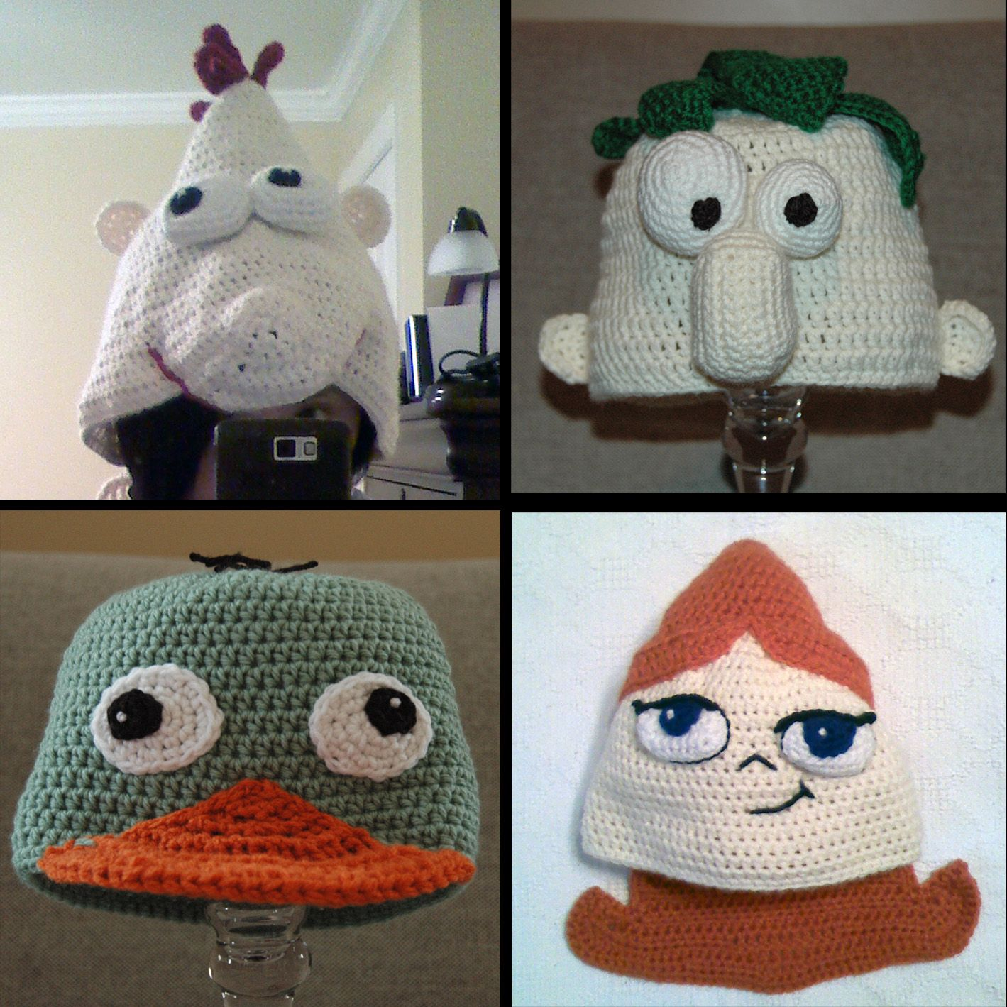 Phineas and Ferb crochet hats - Phineas, Ferb, Perry the Platypus ...