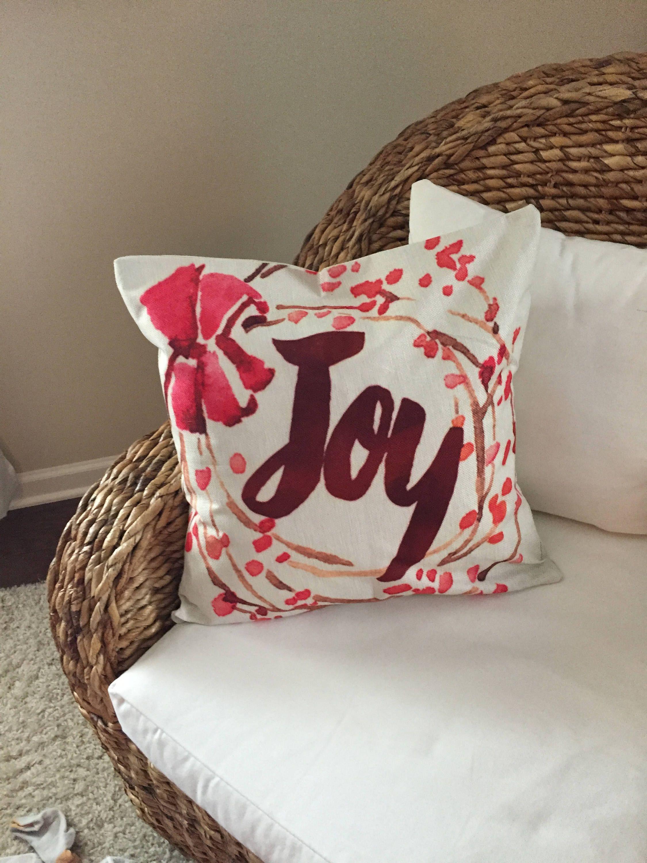 Joy Pillow Cover Christmas Pillow Cover Christmas Decor Home