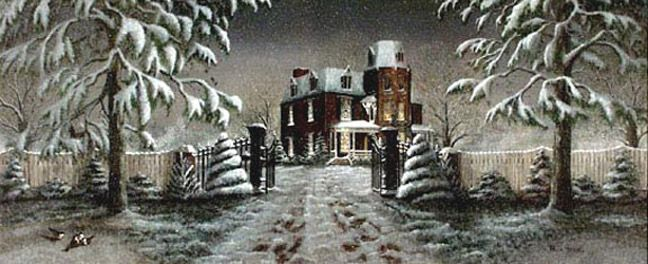 """""""A Winter's Gift"""" is a dramatic winter landscape of the Tate Mansion in Morganton, NC."""