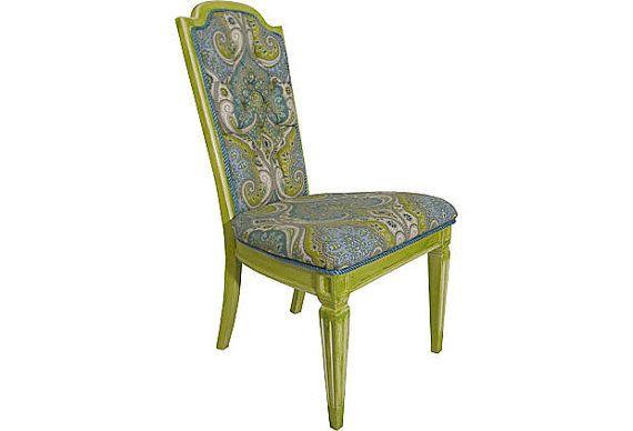 An Aqua Blue Green Dream Vintage High Back Chair by OrangeNolive, $550.00
