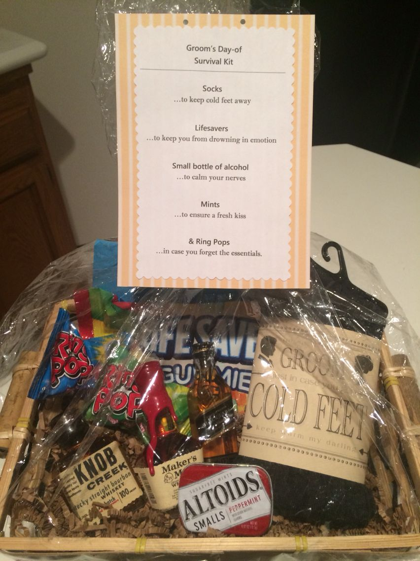 Grooms dayof survival kit personalized gift from bride