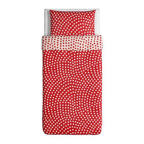 Ikea Duvet Cover And Pillowcase Twin White Red Stenklover Ebay