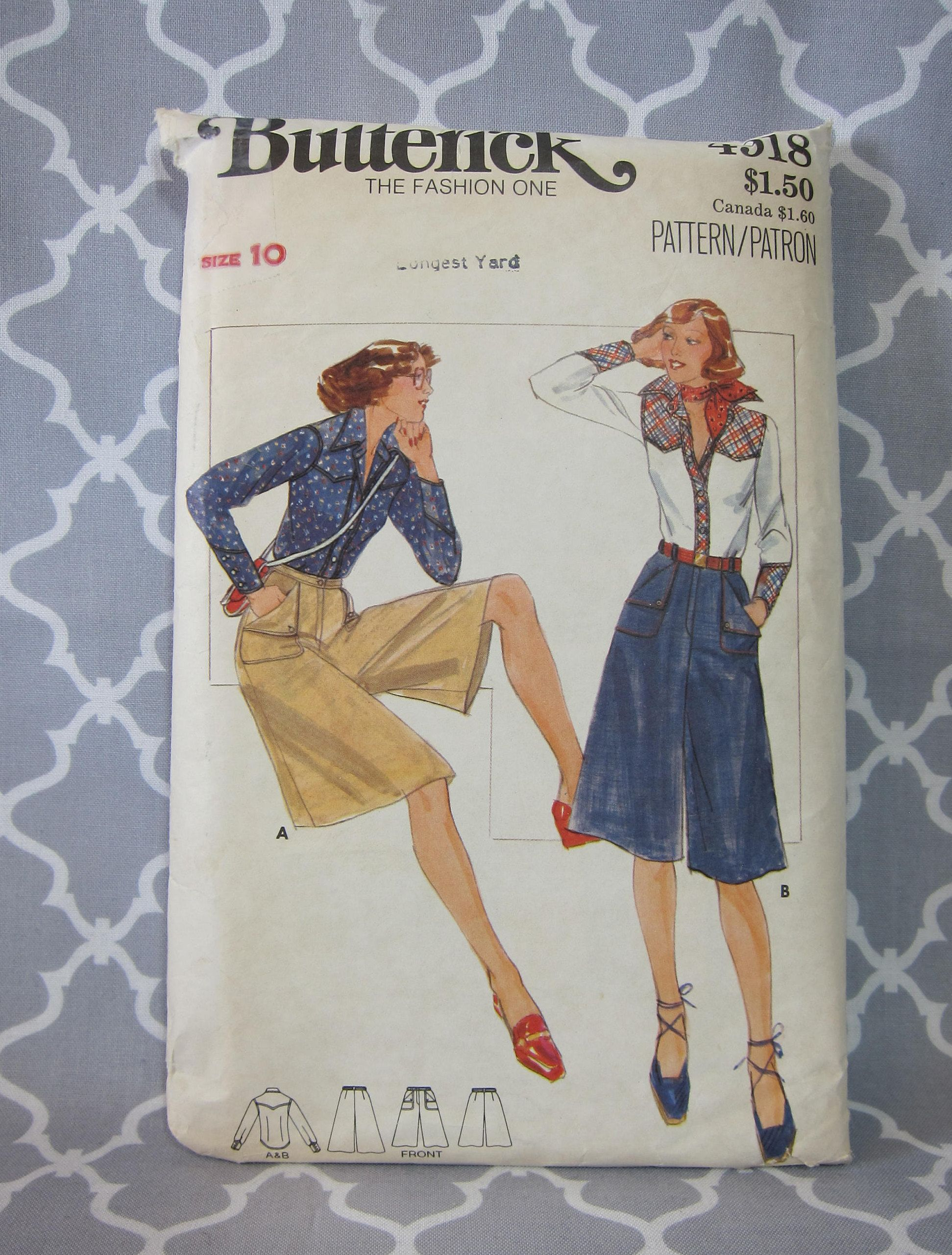 Cheapest Shipping. Vintage Culottes and Western Shirt Pattern. Butterick 4918. Size 10. Incut, Complete by FashionSew on Etsy