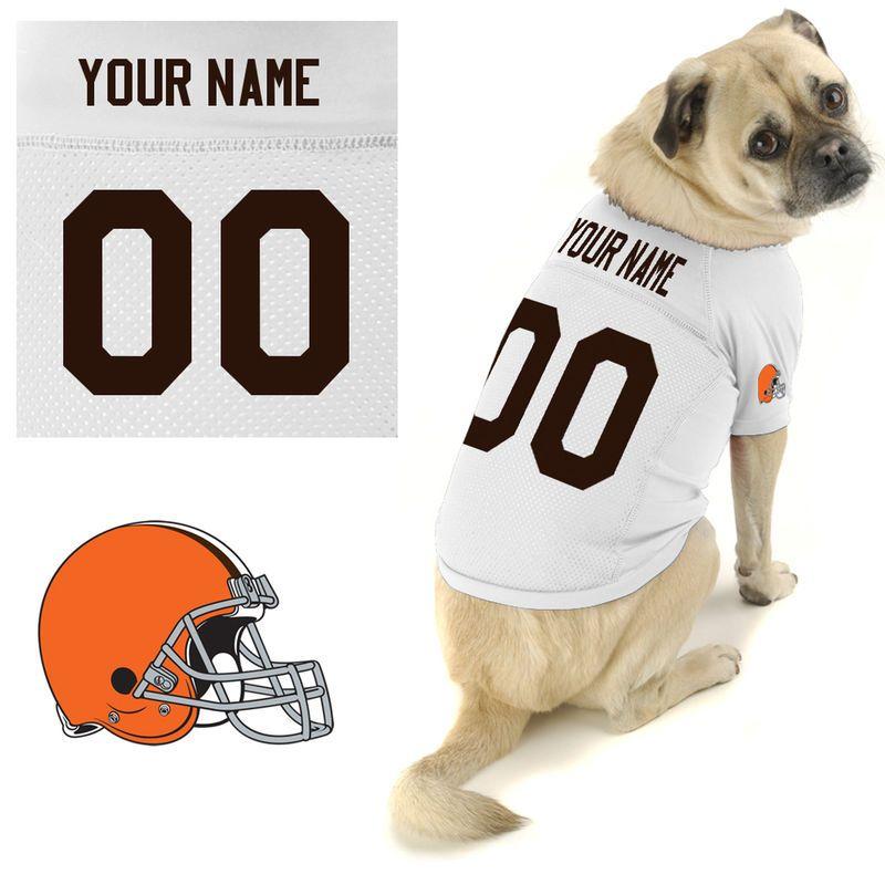 97c4e7097 Hunter Cleveland Browns Historic Logo Custom Dog Jersey - White ...