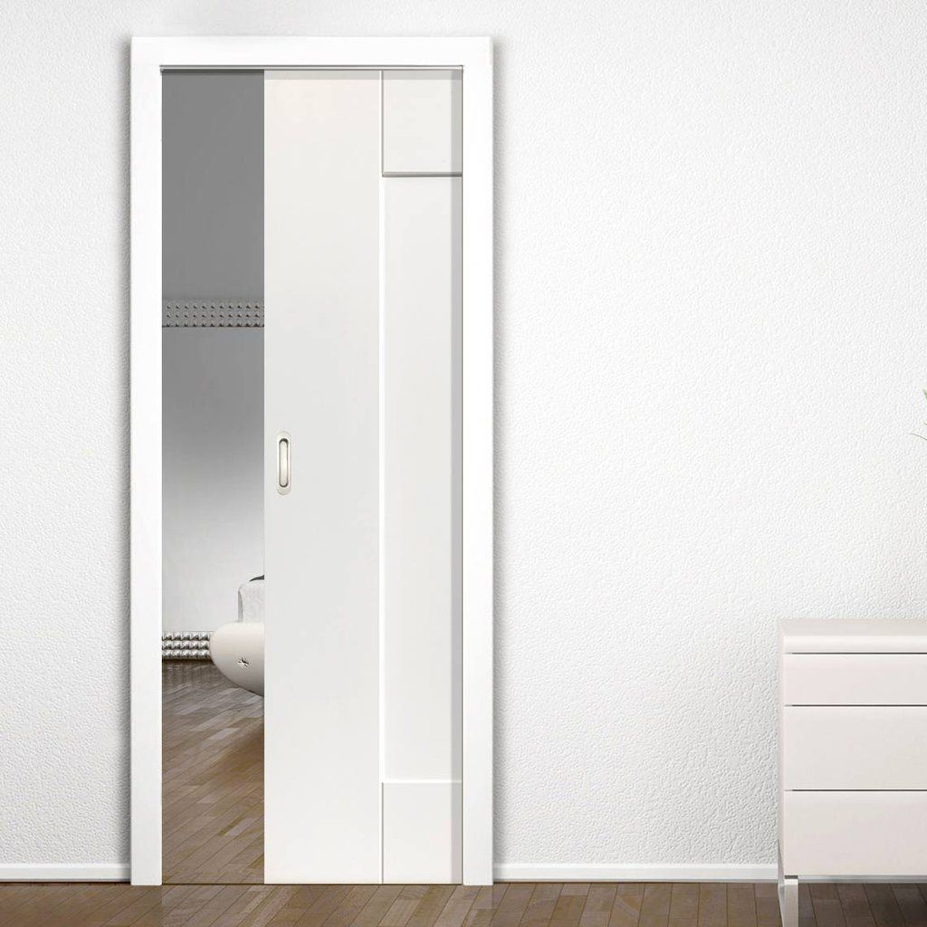 Single Pocket Symmetry Axis White Panelled Sliding Door System In