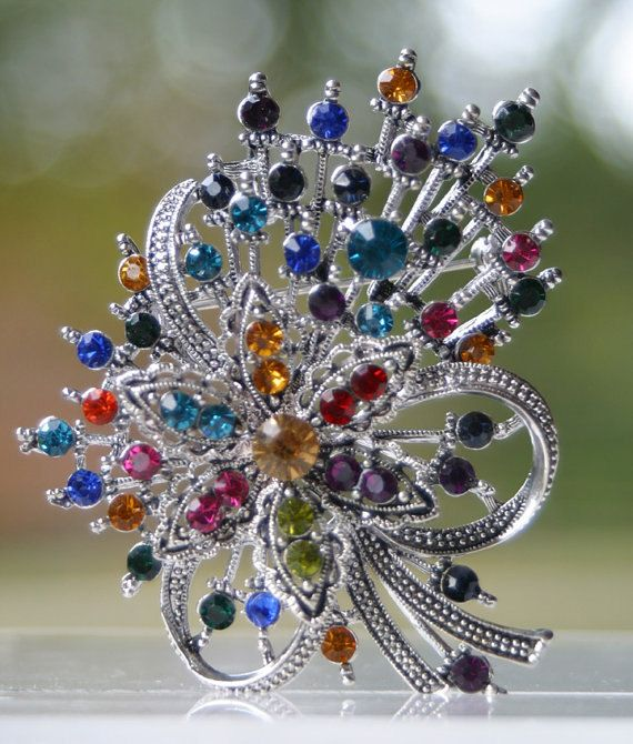 Colorful Brooch Pin by CacheAvenue on Etsy, $28.00