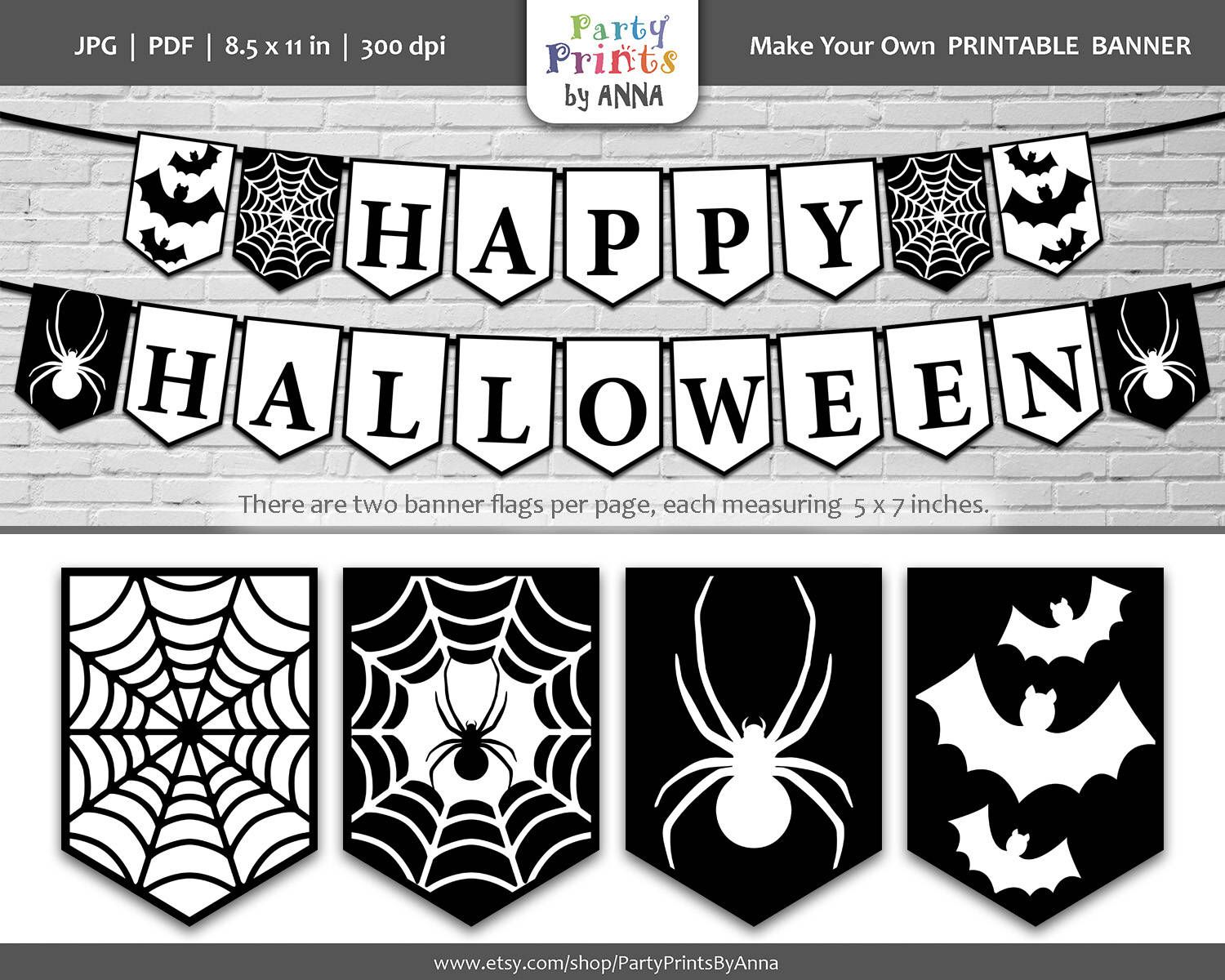 Black And White Printable Happy Halloween Banner Halloween Bunting Banner Penn Halloween Bunting Banner Printable Halloween Decorations Happy Halloween Banner