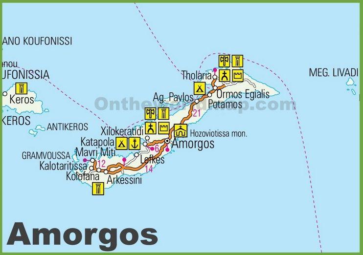 Amorgos tourist map Maps Pinterest