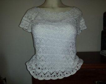 Gypsy Boho Crochet Lace Blouse Short Sleeve by TinaCrochet2016