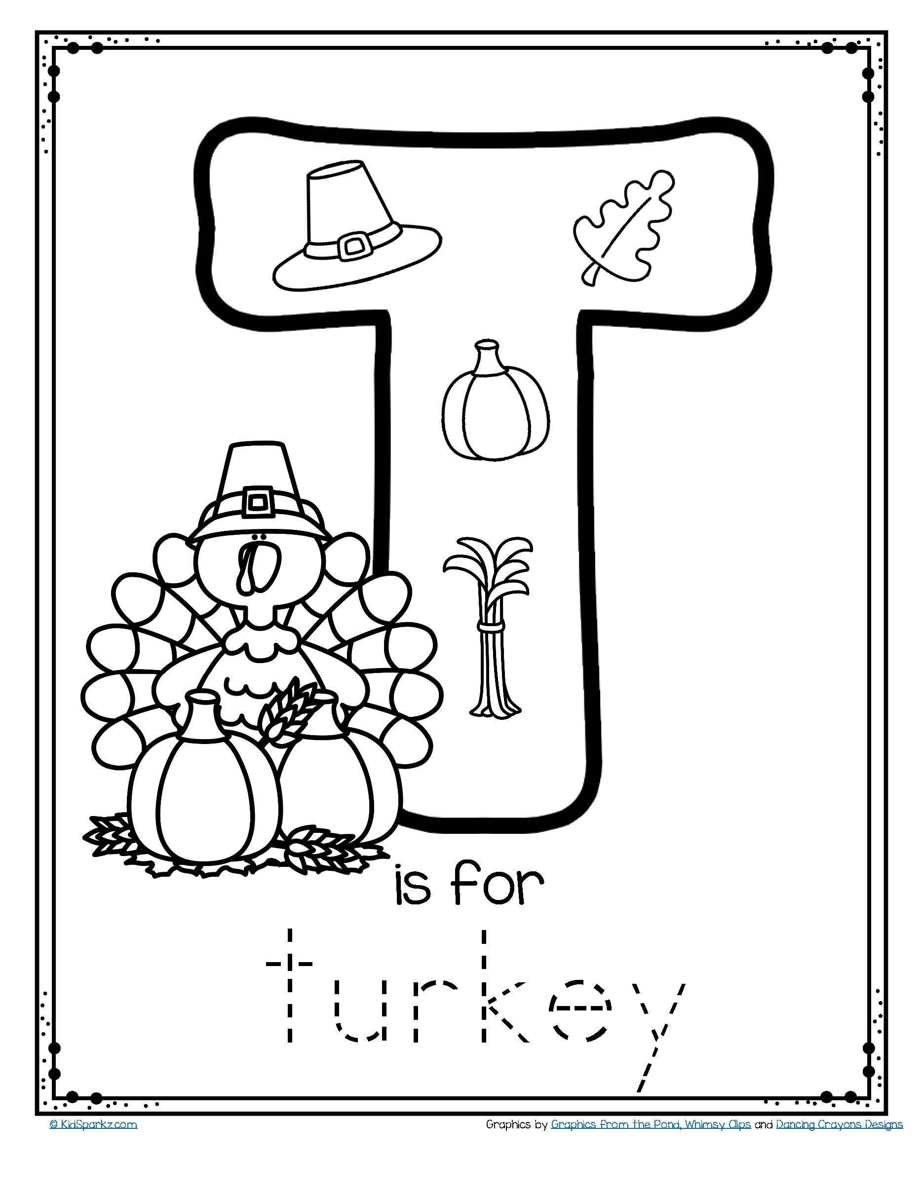 Thanksgiving Worksheets for Preschool Free T is for Turkey ...