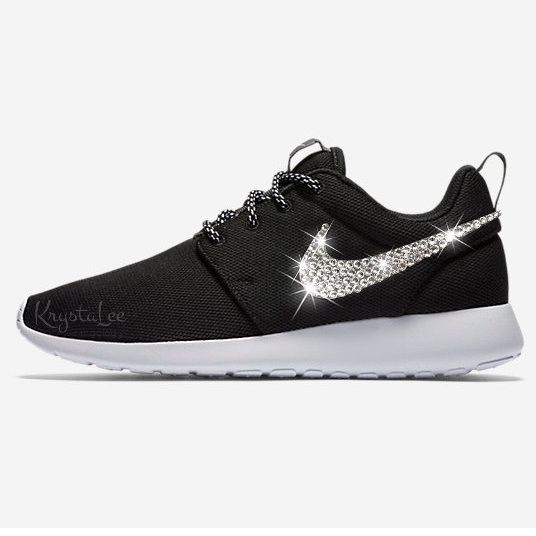 Custom Bling Womens Nike Roshe One Black, White Swarovski Crystal Bling  Sneakers, Running Shoes