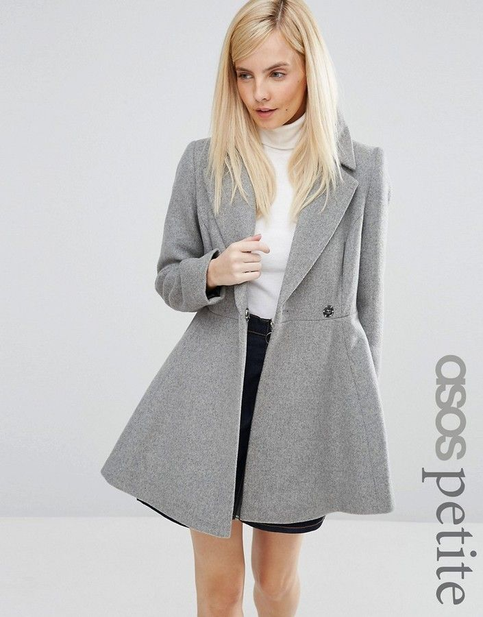 ASOS Petite ASOS PETITE Skater Coat in Wool Blend With Oversized Collar and  Self Belt 841c5c0f1b
