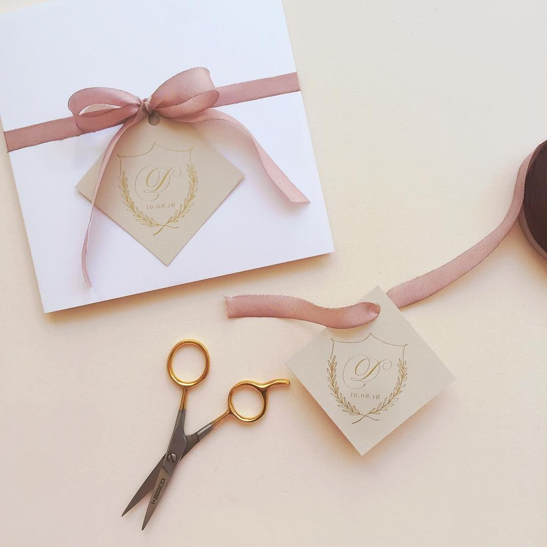 Diy Wedding Invitations Ribbon Invite Tied Up With Silk Ribbon And Gold Crest Tag The Wedding