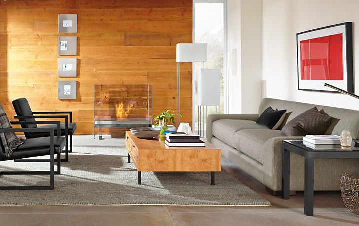 Living - Room & Board - very cool fire place!