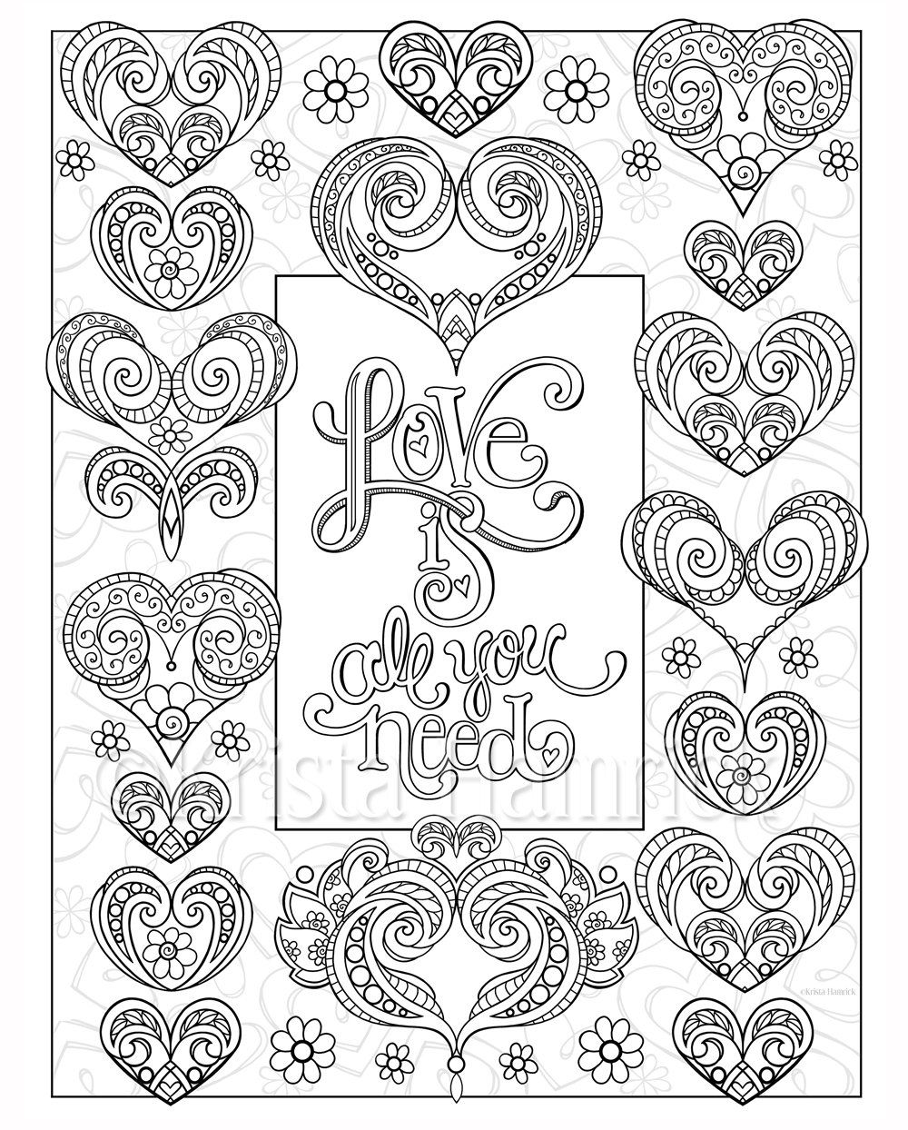 love hearts 2 coloring pages for valentines day - Coloring Pages Hearts 2