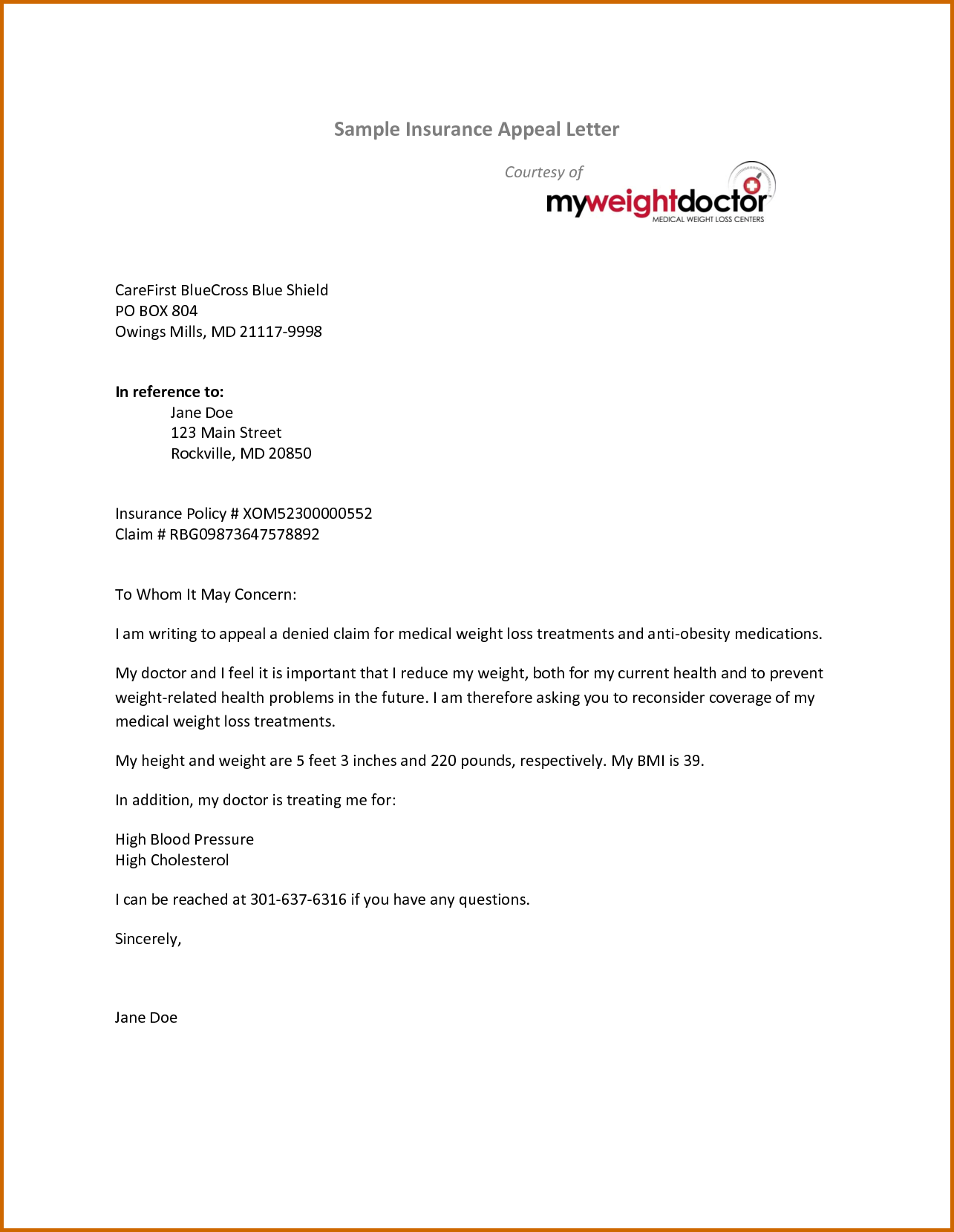 Sample Claim Letter Insurance Company Denial Business Appeal