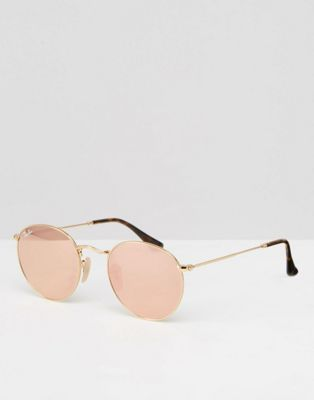 Ray-Ban Round Metal Flat Lens Mirror in Pink with Gold Frame ... 8ff51fb4f5de