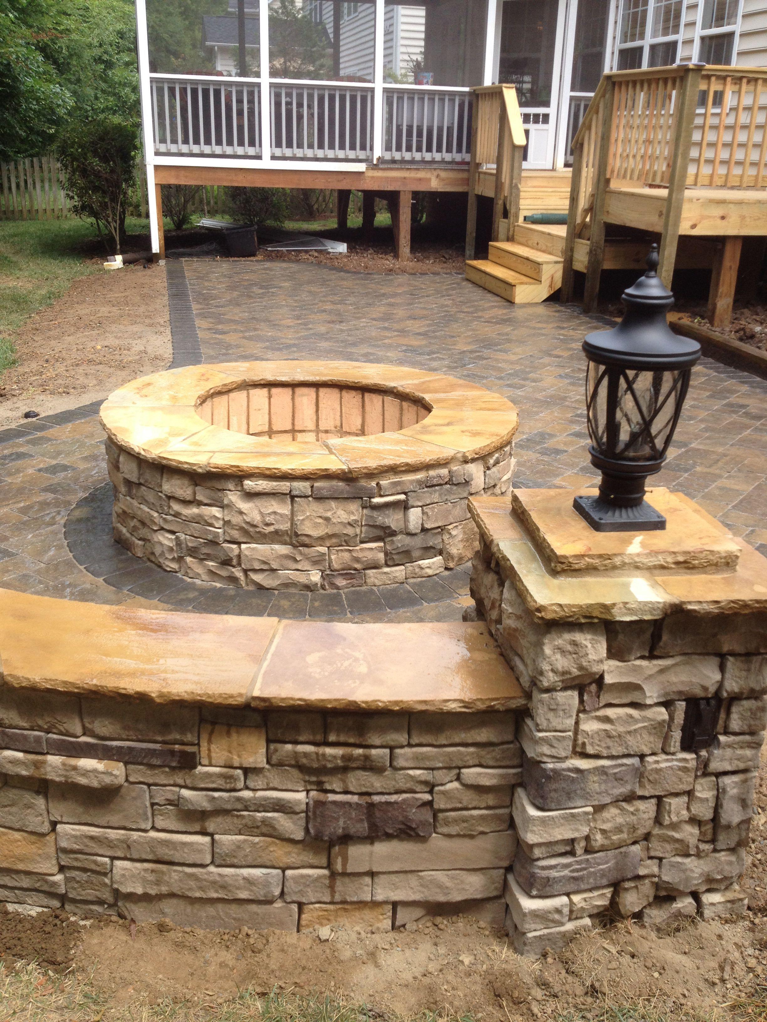 charlotte nc area paver patio with masonry firepit stone columns
