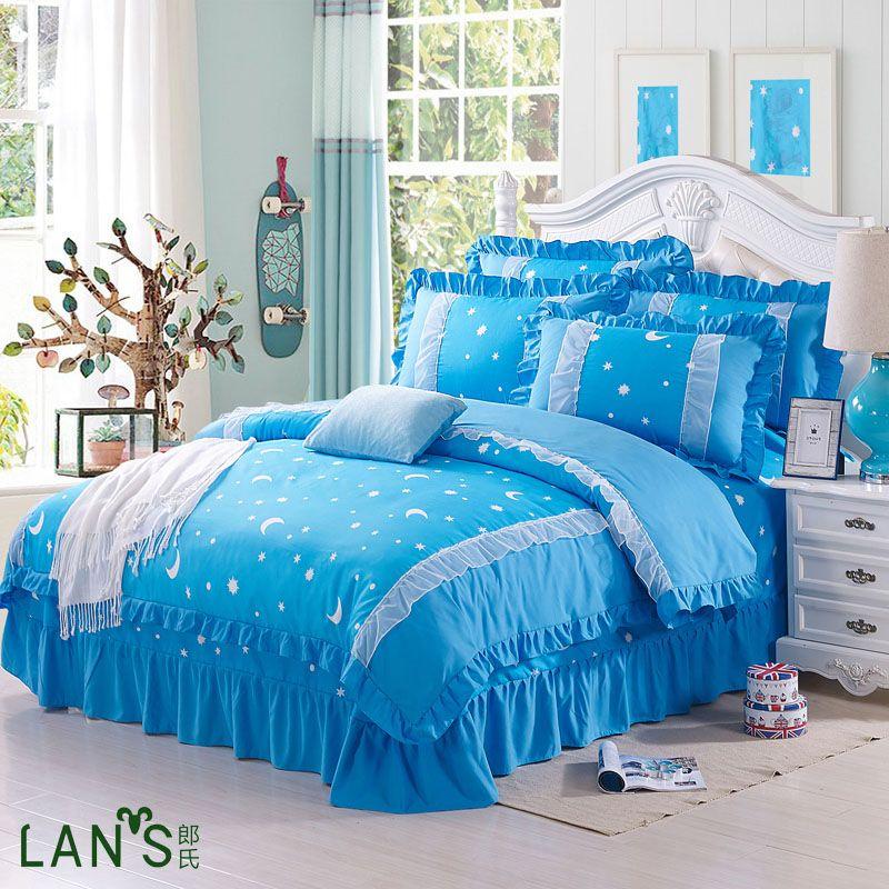 2016 romantique princesse 4 pcs ensembles de literie blanc bordure en dentelle coton housse de. Black Bedroom Furniture Sets. Home Design Ideas
