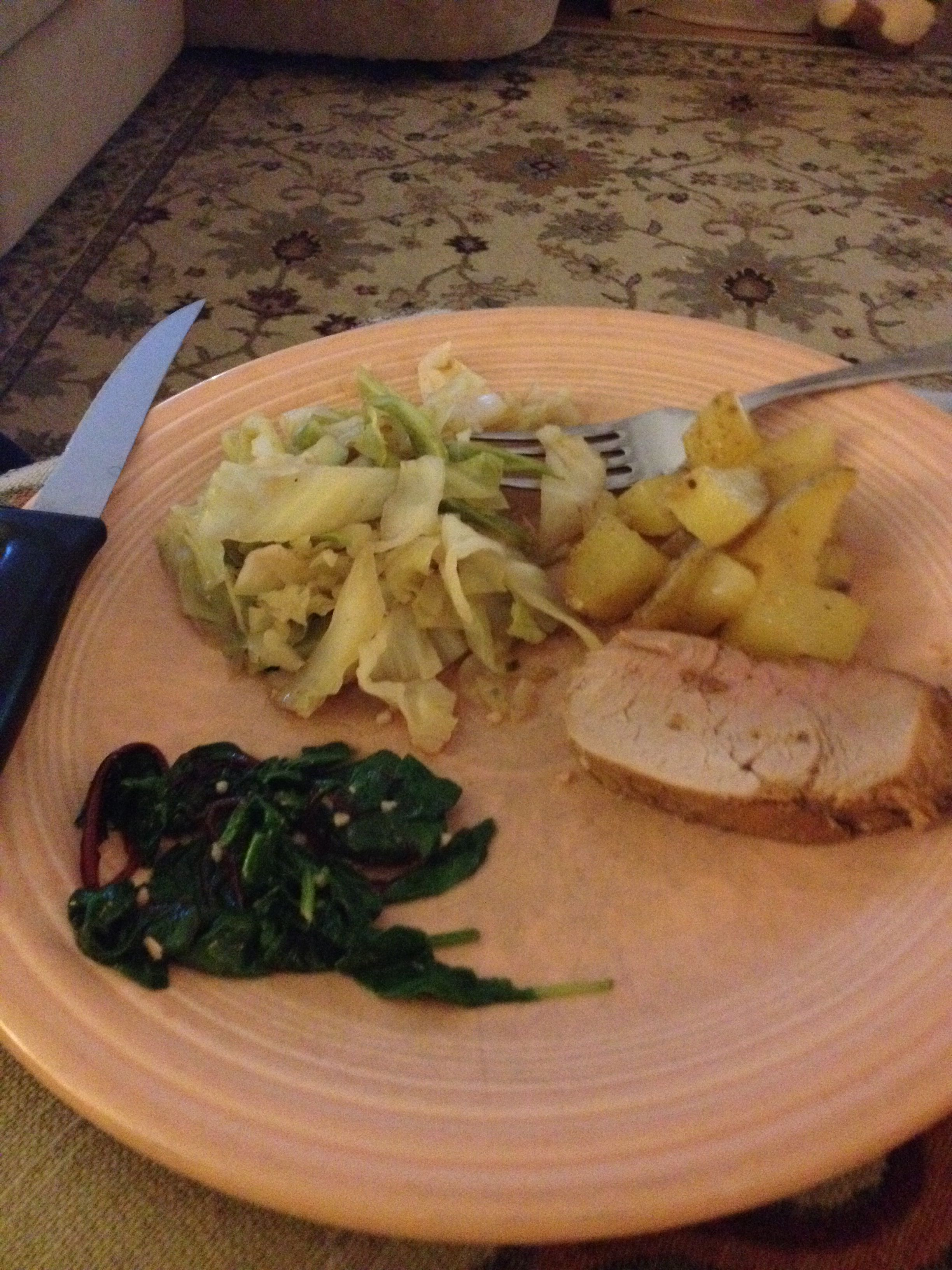 Cooked cabbage, wilted greens, roasted potatoes and pork tenderloin (2 greens, 1 yellow, 1 red and 2 teaspoons)
