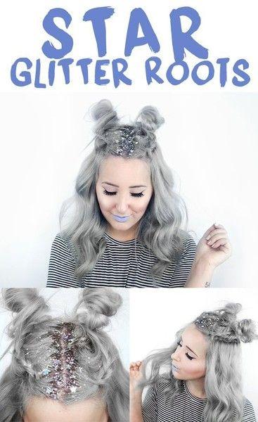 Star Glitter Roots Hair Ideas Pinterest Coiffure Maquillage