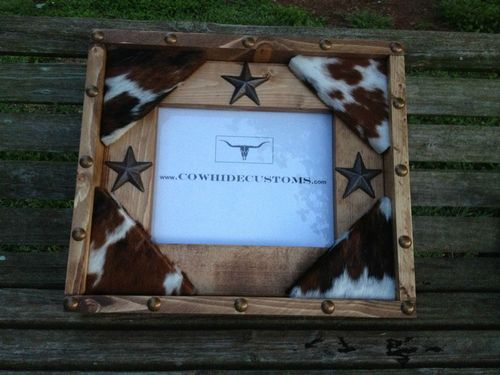 Wood 8x10 Photo Picture Frame Cowhide Star Western
