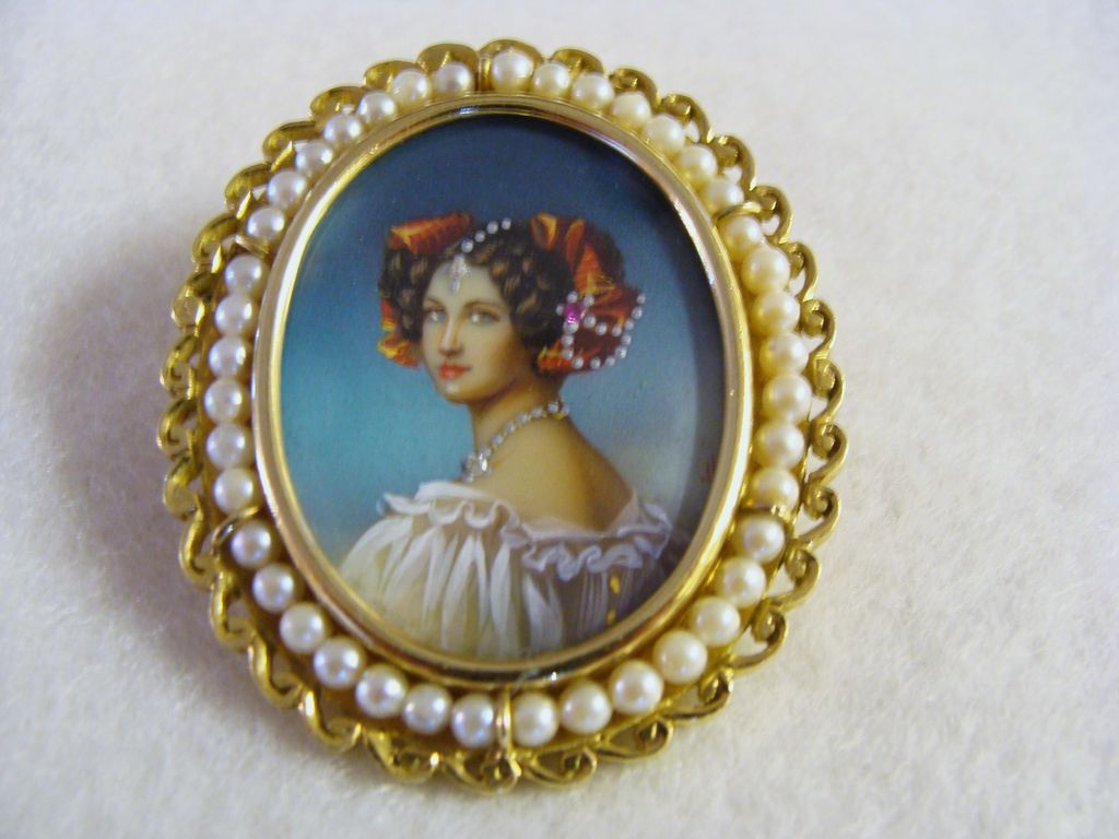 Circa 1910: 18K Gold, Hand Painted Miniature Portrait Brooch / Pendant from houseoflostandfound on Ruby Lane
